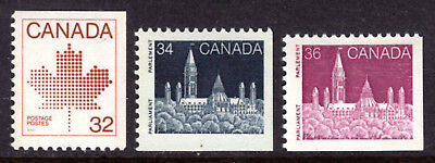 Canada #946-948, 1983-87 Booklet Singles Set/3, Vf, Mint Nh