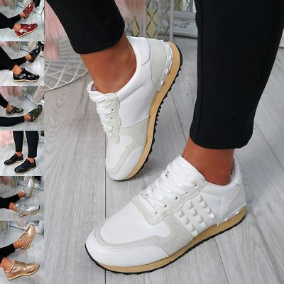 Womens Ladies Rock Stud Lace Up Trainers Sneakers Fashion Plimsolls Comfy Shoes