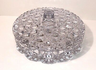 Christmas Holiday Windsor Lead Crystal Glass W/Lid 3 Divide Candy Condiment Dish