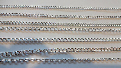 1 OR 5 mtrs  Various Style Strong / Ultra Strong Chain Bright Silver Plated