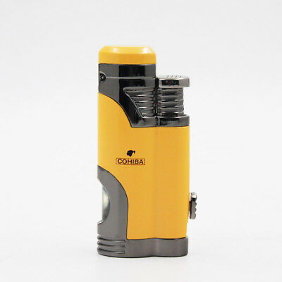 COHIBA Yellow Delica Metal 2Torch Jet Flame Cigar Cigarette Lighter W/ Punch