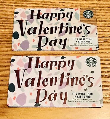 2 Starbucks Variations Plastic & Recyclable 2019 Valentines Cards Set Lot #6162