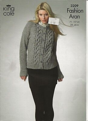 855d4753032a43 Ladies Aran Cardigan   Sweate Original Knitting Pattern DK 28-46