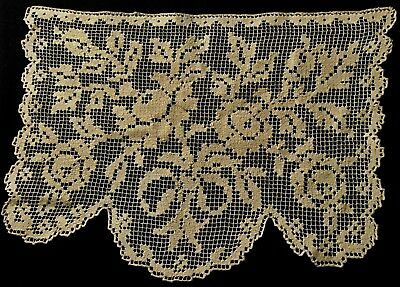 "Gorgeous Hand Made Darning Lace Antimacassar Lovely Rose Pattern 14"" x 9 3/4"""