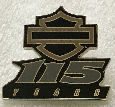 HARLEY DAVIDSON 115th Anniversary Pin, Milwaukee Dates On Back, Bar & Shield NEW