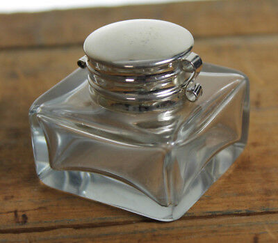 Vintage Antique Style Square Clear Glass Inkwell Bottle