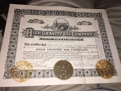 1918 High Gravity Oil Co. State Of Delaware Capital Stock For 100 Shares