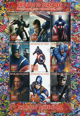 Chad 2018 CTO Captain America Stan Lee Superheroes 9v M/S Comics Movies Stamps