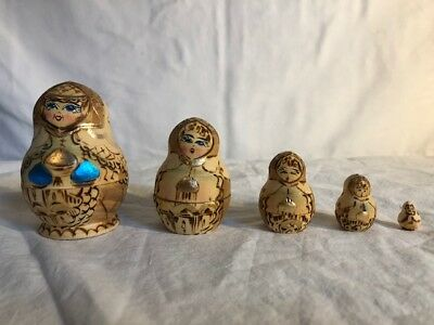"5 Pc Russian Wood Nesting Dolls Made In Russia Hand Painted 3"" - 1/2"""