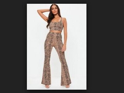 c235cd85931a Missguided brown snake print flared trousers and bralet co ord set Size 4
