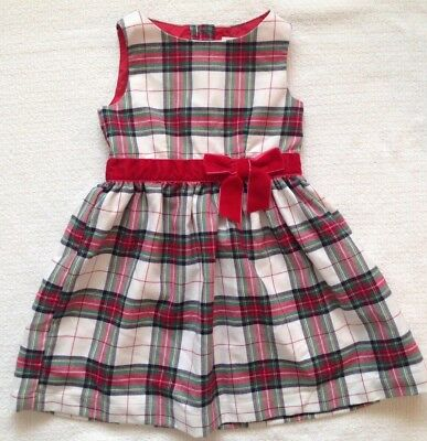 1a9fac77a0a H M Toddler Girls Winter Dress Red Green White Tartan Plaid Velvet Bow Size  ...
