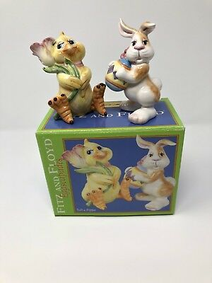 Fitz And Floyd Eggscapades Easter Chick & Bunny Salt & Pepper Shakers 2003