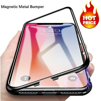 Magnetic Adsorption Metal Case For iPhone XS MAX XR Tempered Glass Back Cover
