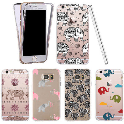 Case for Samsung Galaxy S8 clear 360° cover gel elephant silicone pattern