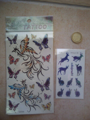 2 PLANCHES TATTOO TATOUAGES TEMPORAIRE;(Papillons,Phénix,Chat,Lapin,Biche)