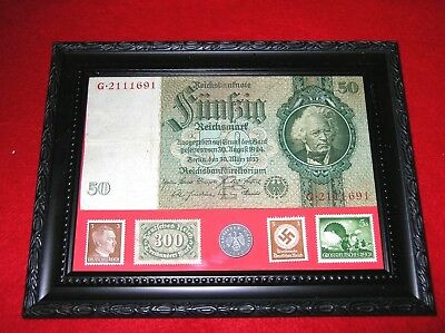WW2 German Rare 5 Rp Coin & Stamps 50 banknote in frame