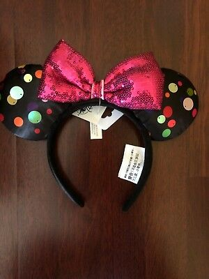Disney World Minnie Mouse Multi-Color Polka Dot Ear Headband All About The Dot