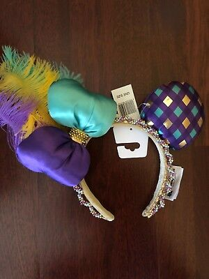 Disney World Mardi Gras Minnie Mouse Ears Headband with Feathers & Beads NWT