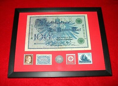 WW2 German Rare 5 Rp Coin & Stamps 100 banknote in frame