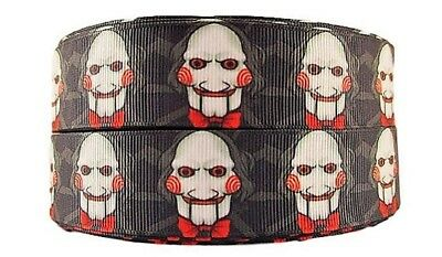 """Saw Horror Movie Jigsaw Mask 1"""" Wide Repeat Ribbon Sold in Yard Lots"""