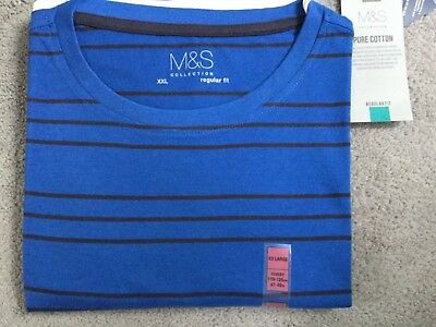 M&S T.shirt In Bright Blue With Black Stripes & Crew Neck- Cotton- Size Xxl Bnwt