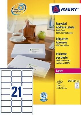 2 100 étiquettes blanches recyclées - 63,5 x 38,1mm - NEUF