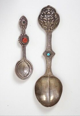 Two antique Tibetan silver medicine spoons