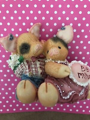 "1995 Enesco This Little Piggy Figurine ""Swill You Be Mine?""Valentine's Day Pigs"