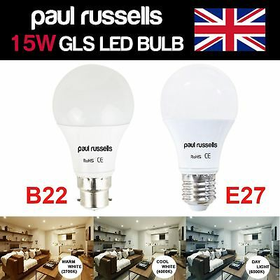 15W=125W LED Frosted Warm/Day/Cool White B22 BC ES E27 Bayonet/Edison Light Bulb