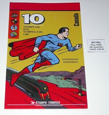 BK185a ~ Face $4.50 ~ Comic Super Heroes ~ Pane 1583b ~ Canada Booklet Stamps