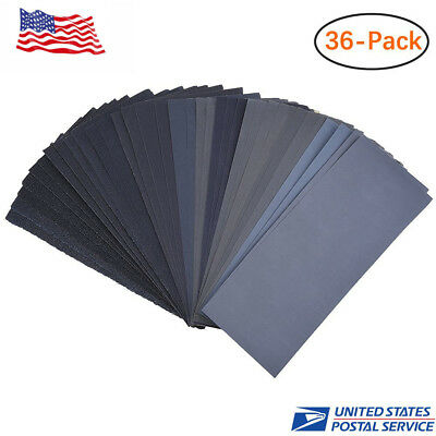 36PCS Wet Dry Sandpaper Sheets 120 To 3000 Assorted Grit Sandpaper for Wood Meta