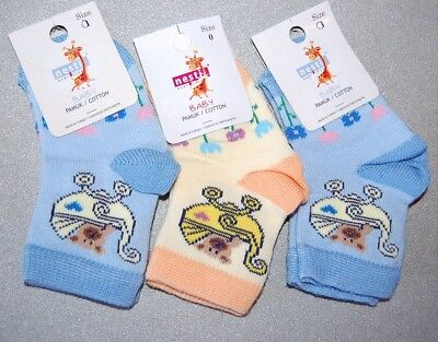 Baby Girls' Pack of 3 Ankle High Socks Blue/Yellow Age 0-6 Months