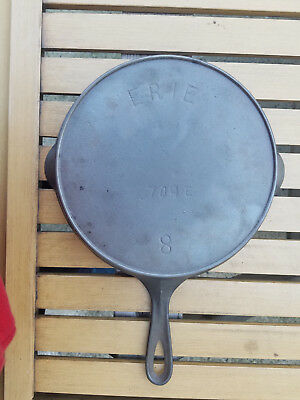 Antique Pre Griswold Erie 8 Cast Iron Skillet 704 E X Heat Ring HTF Rare Vtg USA