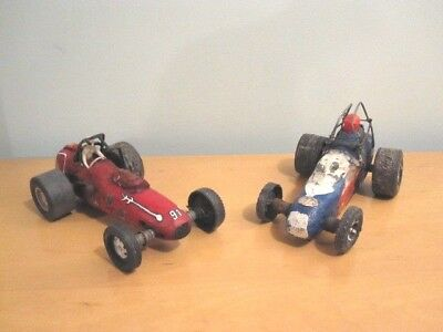 Pair Of American Folk Art Race Cars, Painted Hand Carved Wood, Primitive