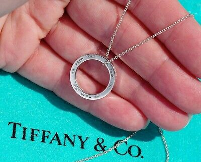 Tiffany & Co Sterling Silver 1837 Medium Circle Round Charm Pendant Necklace
