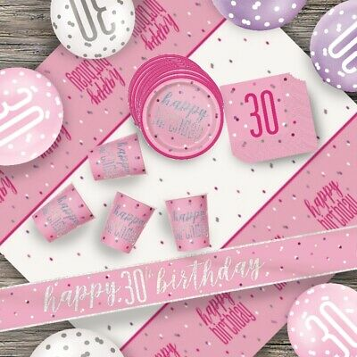 Pink Glitz 30th Birthday Party Supplies Decorations (Confetti Strings Napkins)