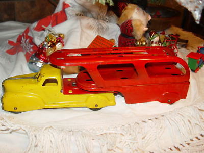 1940s Marx Pressed Art Deco Steel Auto Transport Truck and Trailer Red & Yellow