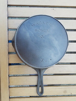 Antique Wagner Sidney O 7 B Cast Iron Skillet Arch Logo Heat Ring HTF Rare Vtg