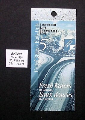 BK228a ~ Face $2.75 ~ Fresh Waters ~ Pane 1854 ~ Canada Booklet Stamps  BK228 a