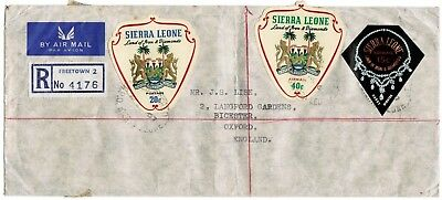 Sierra Leone Registered Envelope Coat of Arms and Diamond necklace 1967