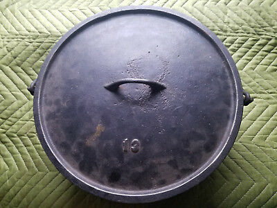 Antique Gate Mark # 13 Cast Iron Dutch Oven HTF Rare Lid Cover Civl War Roaster