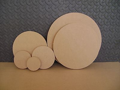 """Wooden MDF Circles 4"""" 5"""" 6"""" 8"""" 10"""" 12"""" Round craft plaques plain 18mm thick"""