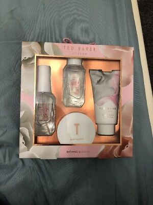 NEW Ted Baker Bathing Blooms Gift Set Body Wash, Souffle, Spray &Bubble Bath