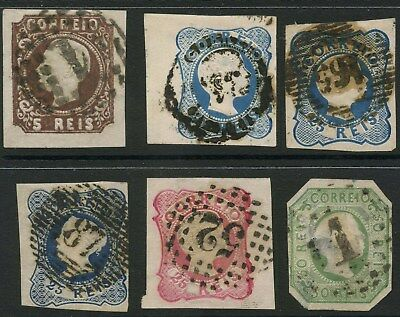 PORTUGAL 1855-57 IMPERFS 6 STAMPS MIXED KING PEDRO 5th.. cat £140+