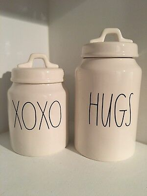 New Rae Dunn LL XOXO And HUGS Valentines Day Canisters Large Letter Ceramic