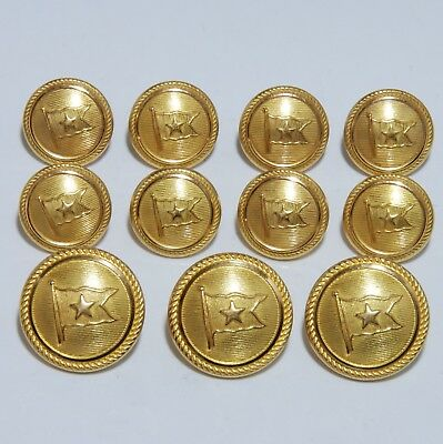 Waterbury Titanic White Star Line Flag Gold Blazer Button Set Steamship Nautical
