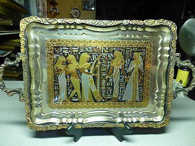 Antique Egyptian Storyline Ornately Engraved Silver, Brass, Copper, Pewter Tray