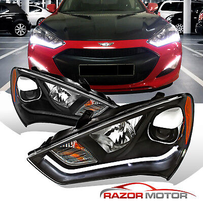 [HID Model+LED Bar]For 2013 2014 2015 Hyundai Genesis Coupe Black Headlights Set