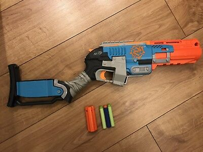 Nerf Zombie Strike Sledgefire Blaster With 1 Shell And 3 Ammo Working!