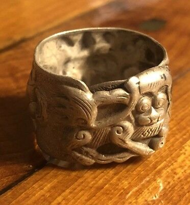 Old Antique Chinese Ring Silver? Dragon Adjustable Asian Jewelry Art Dynasty